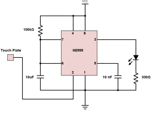 Simple 555 Touch Switch Circuit