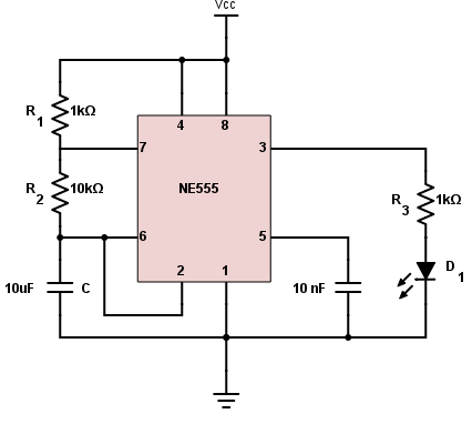555 Timer Astable Circuit Calculator - Electrical ...